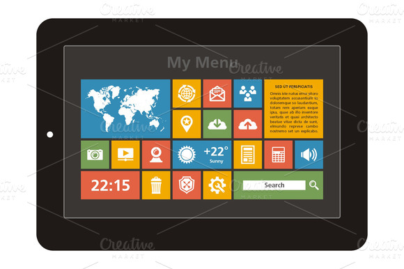 Tablet Interface Vector Icons Set