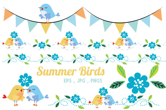 Summer Birds Singing Graphics