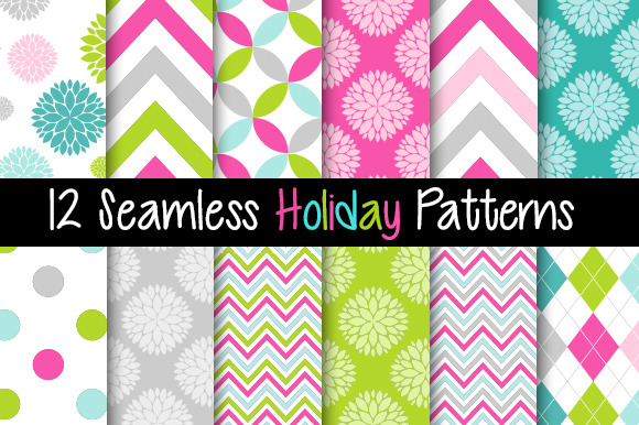 12 Seamless Holiday Patterns Pink