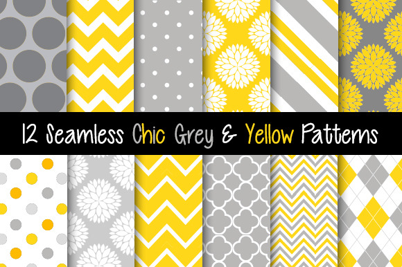 Seamless Chic Grey And Yellow Papers