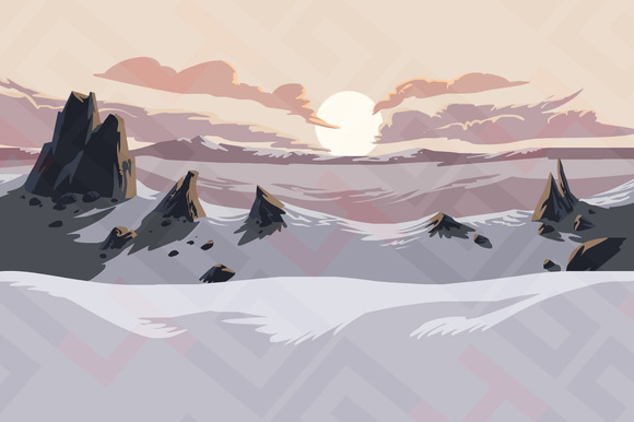 Snow Mountains Parallax Background