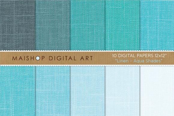Digital Paper-Linen-Aqua Shades