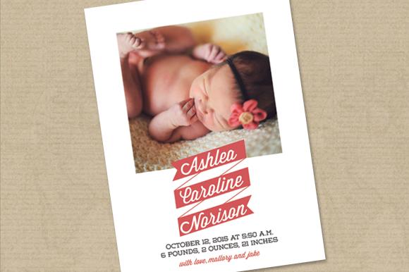 Birth Announcement Card Template