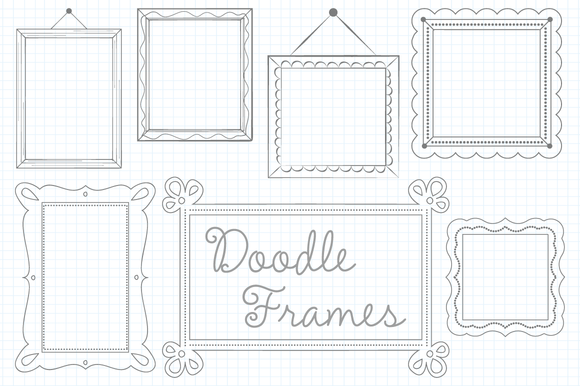 Vector Doodled Frames Set