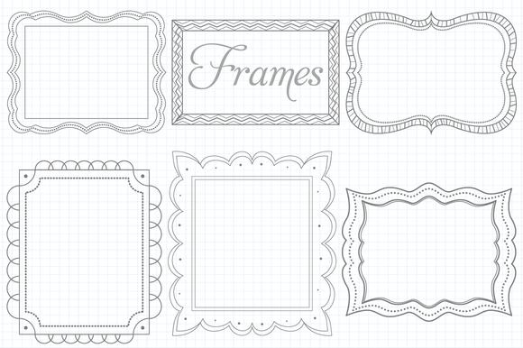 Vector Doodle Frames Set