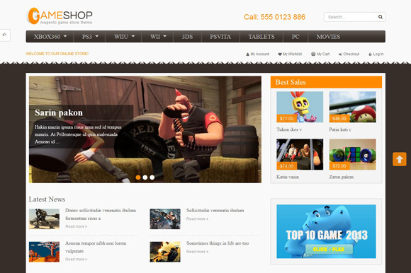 SM GameShop Magento Theme