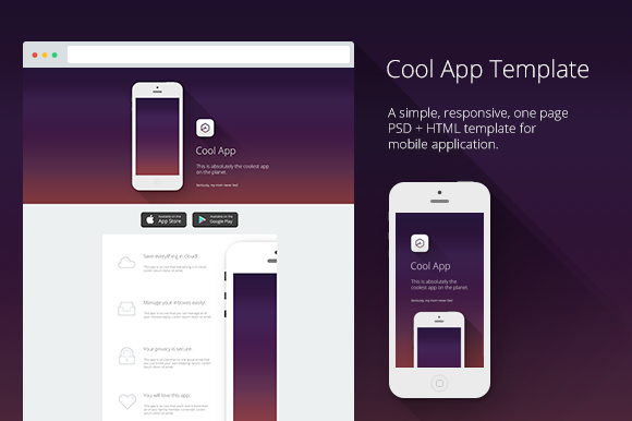 Cool App PSD HTML Template