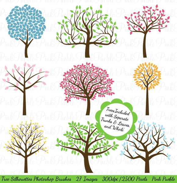 Tree Silhouettes Photoshop Brushes