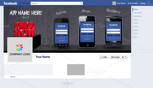 Facebook Page Timeline Cover For App