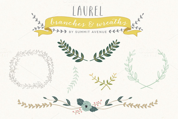 Vintage Laurel Wreath Designs