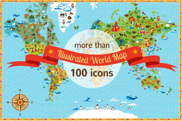 World Map With More Than 100 Icons