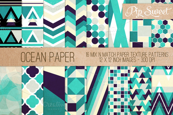 Ocean Paper 16 Pattern Set