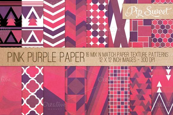 Pink Purple Paper 16 Pattern Set