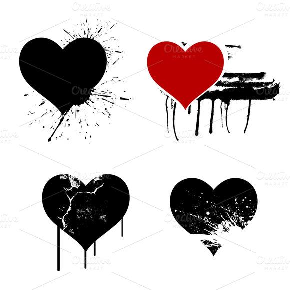 Grunge Hearts Vectors