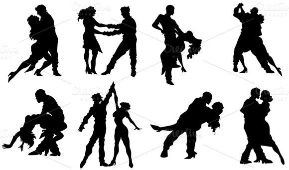 Couple Dancing Silhouettes Vectors