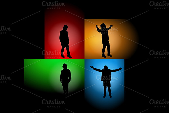People Silhouettes Vector Background