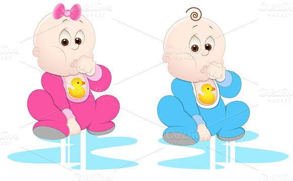 Girl And Boy Baby Vectors
