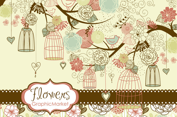 Flower Birds Clip Art Digital Paper