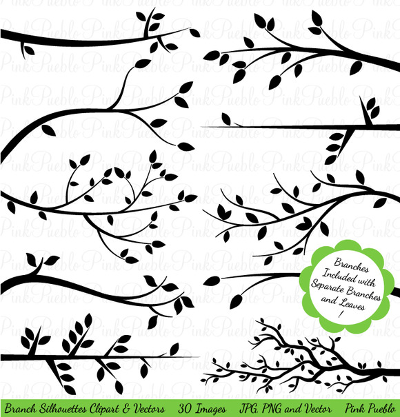 Branch Silhouettes Clipart Vectors