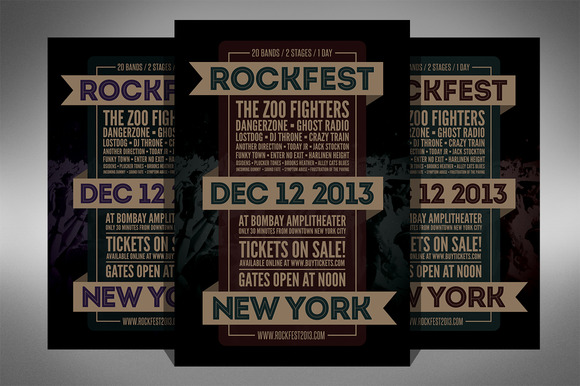 Rock Festival Music Flyer 2 Sizes