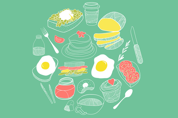 Cute Breakfast Icon Set