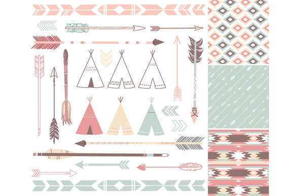 Arrows Teepee Tents Tribal Papers