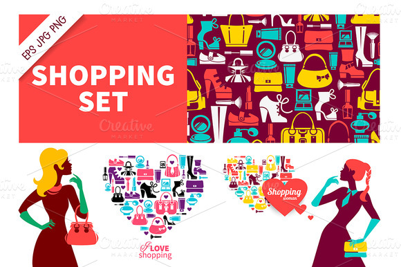 Set Of Shopping Illustrations