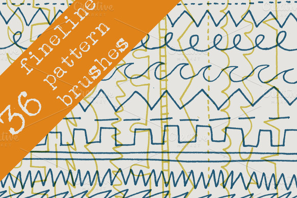 36 Fineline Pen Pattern Brushes