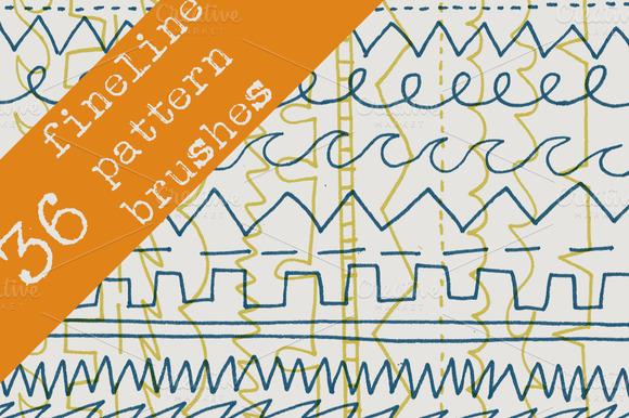 36 Fineline Pen Pattern Brushes
