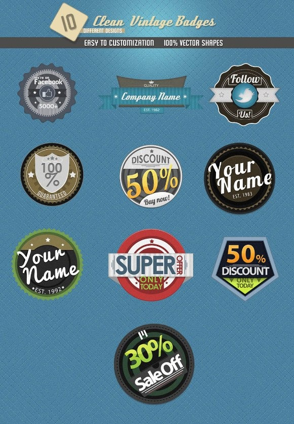 Clean Vintage Badges