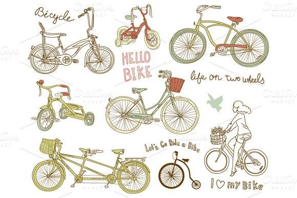 Vintage Bicycles Digital Clipart Set