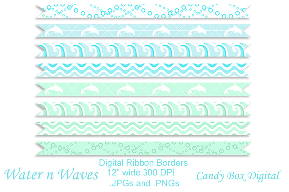 Water N Waves Ribbon Borders