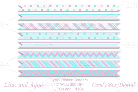 Lilac And Aqua Digital Ribbons