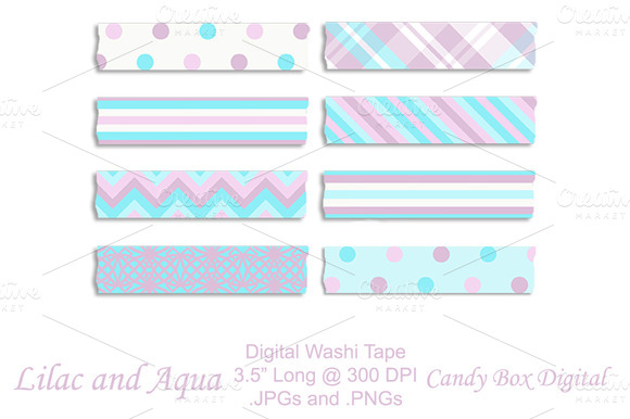 Lilac And Aqua Digital Washi Tape
