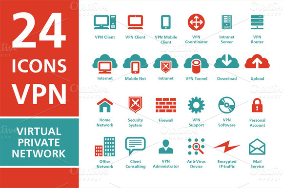 24 Vector Icons VPN Virtual Private