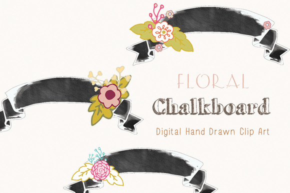 Floral Chalkboard Banners