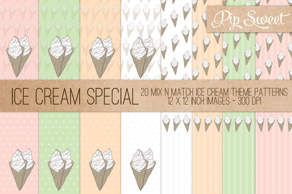 Ice Cream 20 Pattern Set