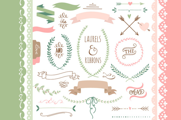 Laurels Ribbons Wreaths And Arrows