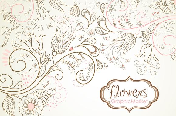 Flowers Digital Paper Floral Border