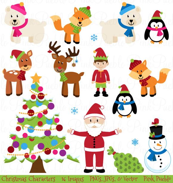 Christmas Animals Clipart Vectors