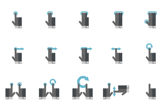 Mobile Touch Gesture Icons