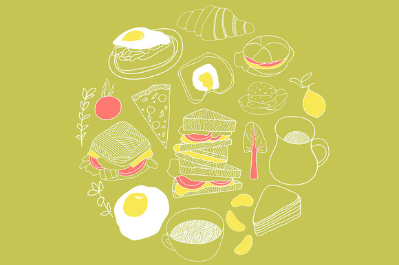 Cute Lunch Icon Set