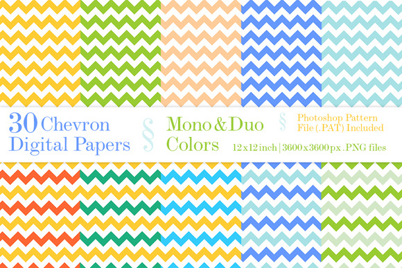 30 Chevron Digital Papers Mono Duo