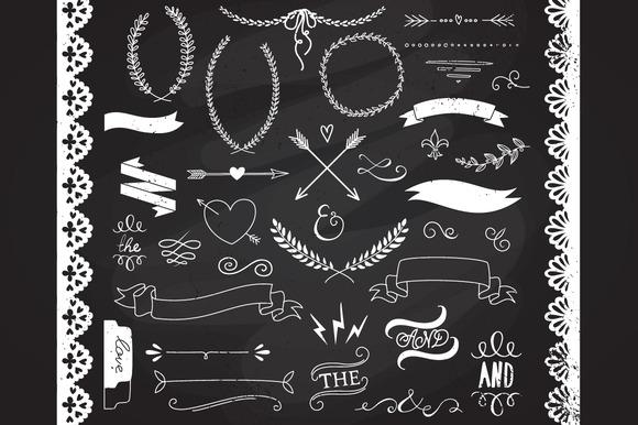 Chalkboard Laurels Clipart Ribbons