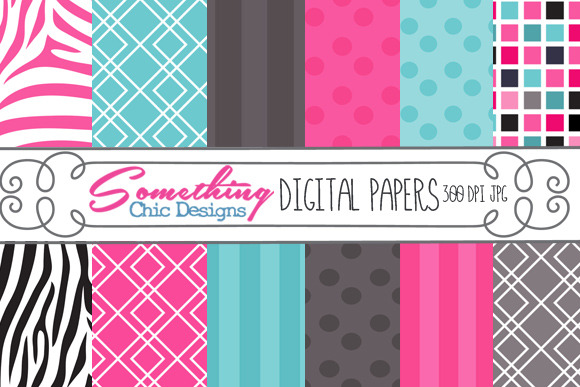 Pink Zebra Whimsy Digital Background
