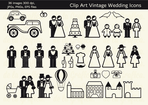36 Vintage Wedding Icons