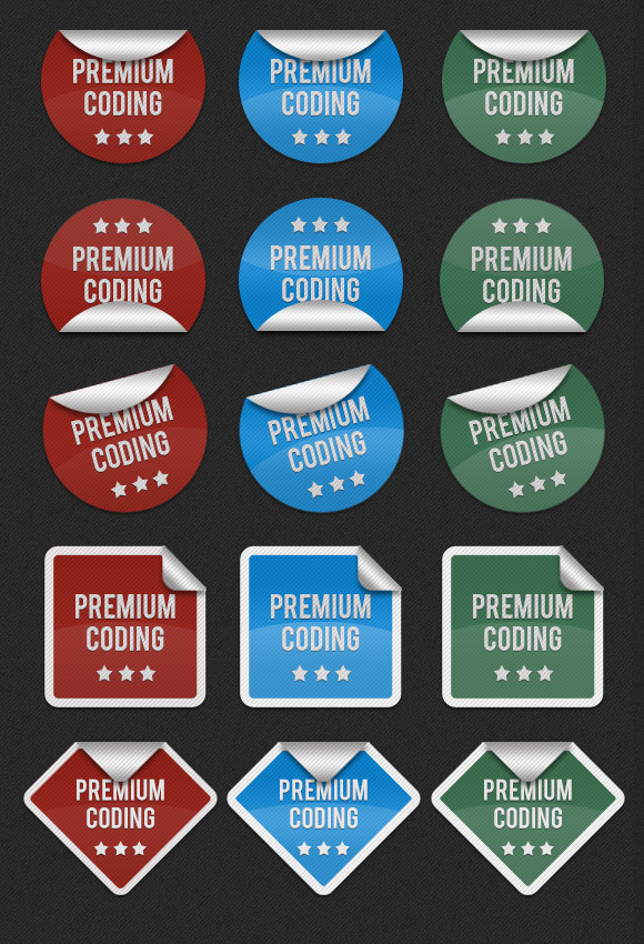 Realistic Circular Stickers Badges