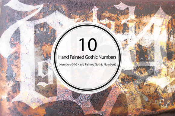 Hand Painted Gothic Numbers