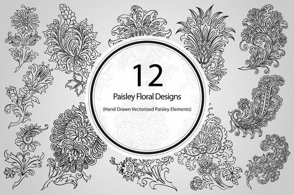 12 Paisley Floral Designs