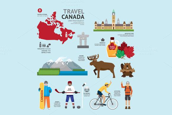 Travel Concept Canada Landmark Flat